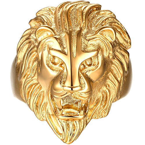 MENSO Jewelry Mens Vintage Gothic Stainless Steel Gold Lion Head Punk Ring 12