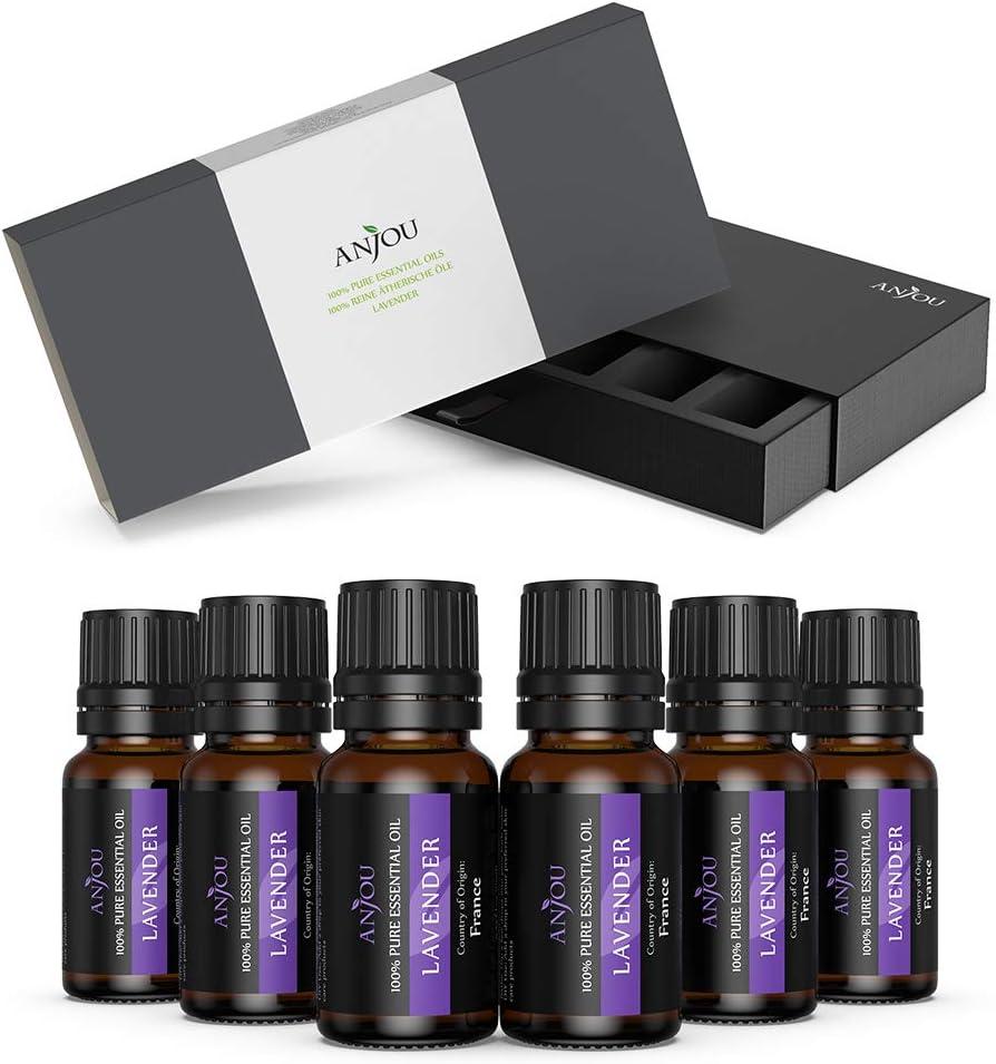 Anjou Aceites Esenciales lavanda 6 x 10ml, Aceites Aromaterapia lavanda para Humidificador y Difusor Aroma,Spa