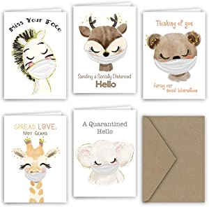 Paper Frenzy Masked Animals Quarantine Notes for Social Distancing Greeting Cards - 5 Different Designs (5 Cards per Design - 25 Total Cards)