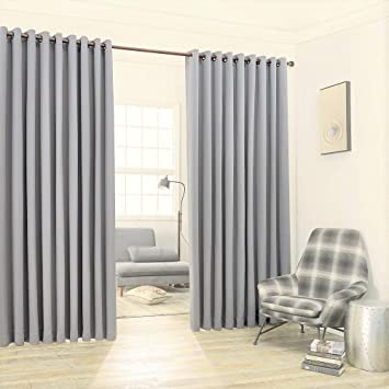 Warm Home Designs Extra Large 2 Light Grey Silver Wall To Curtains 108 X 99 Each With Matching Tie Backs Total Width Is 216 Inches 18 Feet