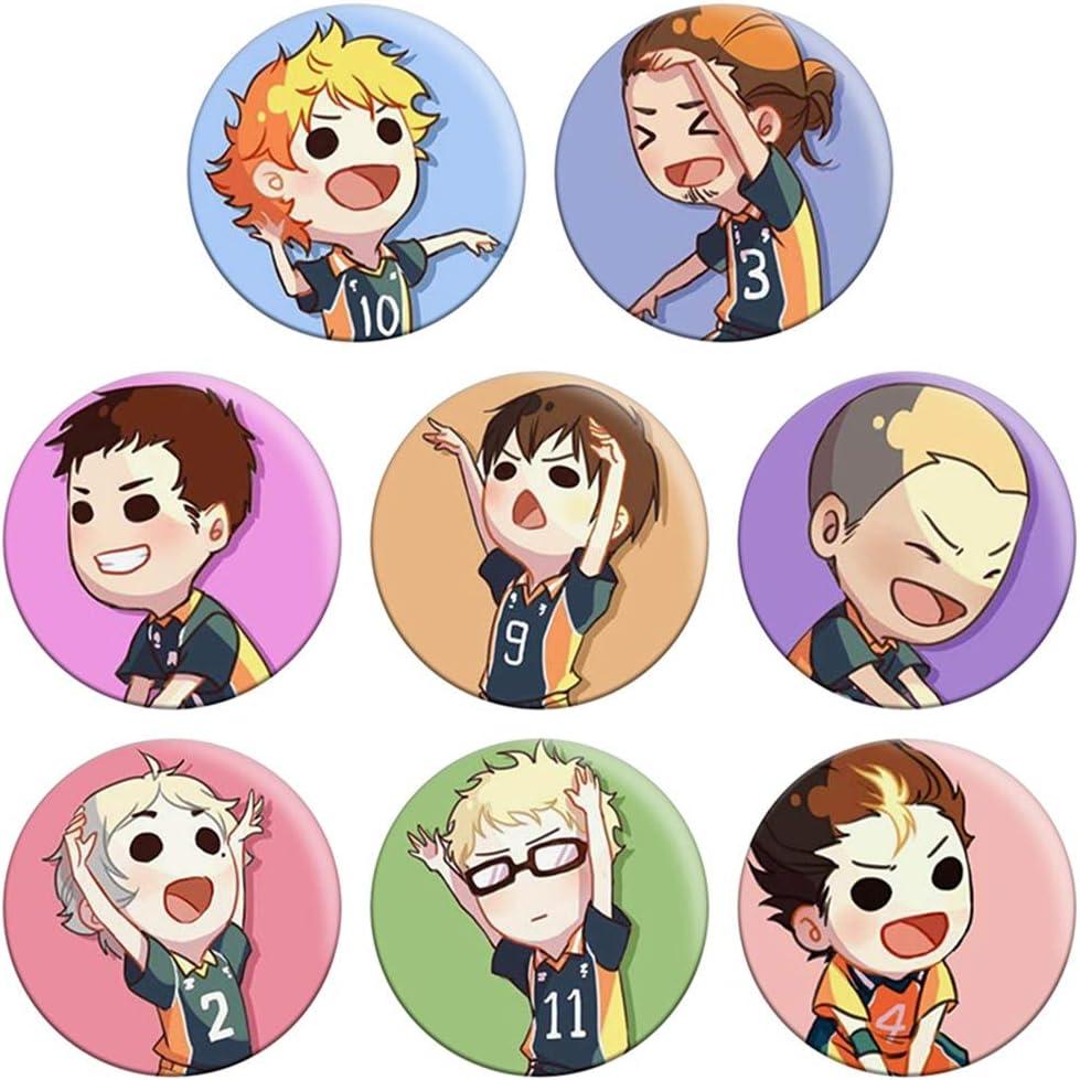 10pcs-1 St.Mandyu Anime Haikyuu! Badge Brooch Set Hinata Shoyo Kageyama tobio Cartoon Cute Character Tinplate Badge Button Collectible Brooch Novelty Bag Clothes Accessory