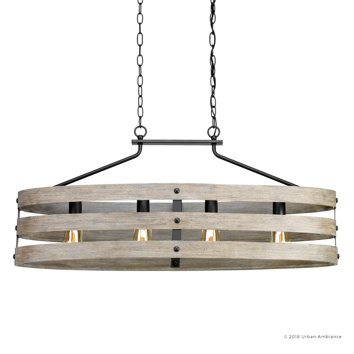 Luxury Modern Farmhouse Chandelier, Large Size: 17''H x 38.5''W, with Rustic Style Elements, Charcoal Finish, UHP2476 from The Adelaide Collection by Urban Ambiance by Urban Ambiance