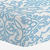 Carousel Designs Blue Filigree Crib Sheet - Organic 100% Cotton Fitted Crib Sheet - Made in The USA