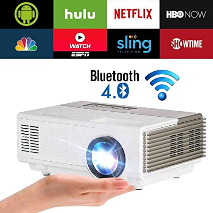 dc2b8276de74e2 Pocket Smart WiFi Wireless Mini Projector Bluetooth 2800 Lux with HDMI  Speaker Support 1080p HD Airplay