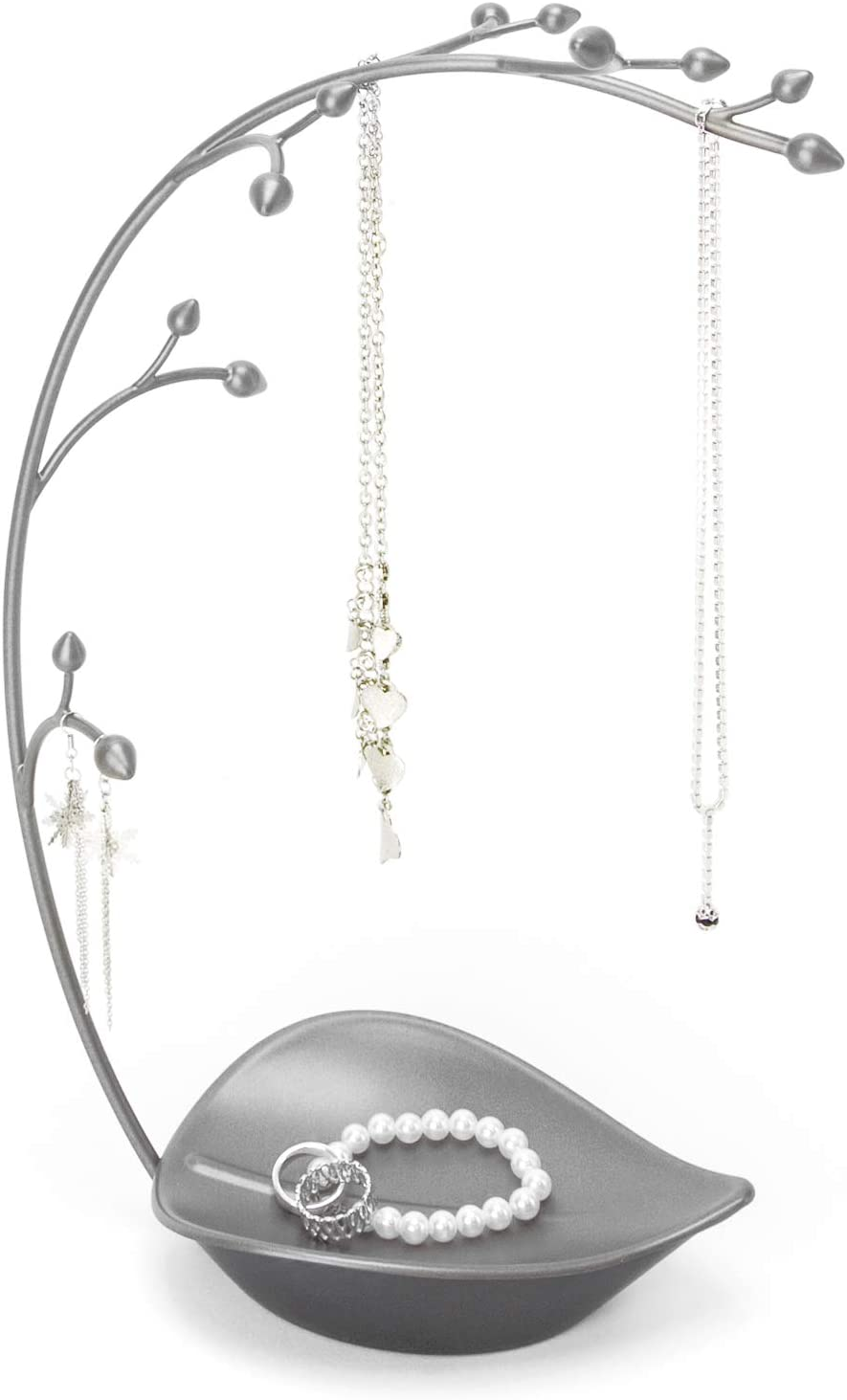Umbra Orchid Jewelry Hanging Baum Stand - Multi-Functional Necklace Metal Holder Display Organizer Rack mit ein Ring Dish Tray - Great für Organization - können sein Used wie Decor, Dining Zimmer Centerpiece