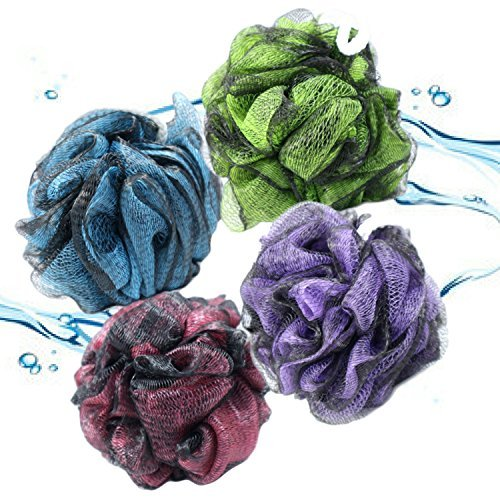 Modern Skin Labs Loofah Shower Pouf Pack With 4 Mesh Sponge Import