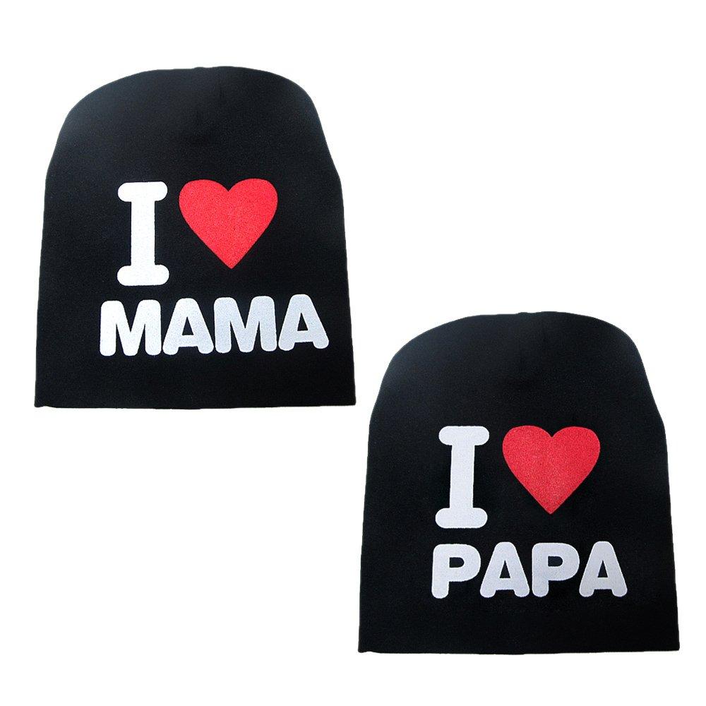 Vococal - 2 Piezas Gorras para Bebé, Lindo Gorro Sombrera Infantil para Otoño de Invierno Aire Libre Esquí, Frío Evitar para Niños/Niñas/Bebé I LOVE PAPA MAMA (Negro)