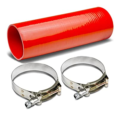 3.5 to 3.5 inches 12 inches Long Straight 4-Ply Turbo/Intake/Intercooler Piping Silicone Coupler Hose+T-Clamp (Red): Automotive