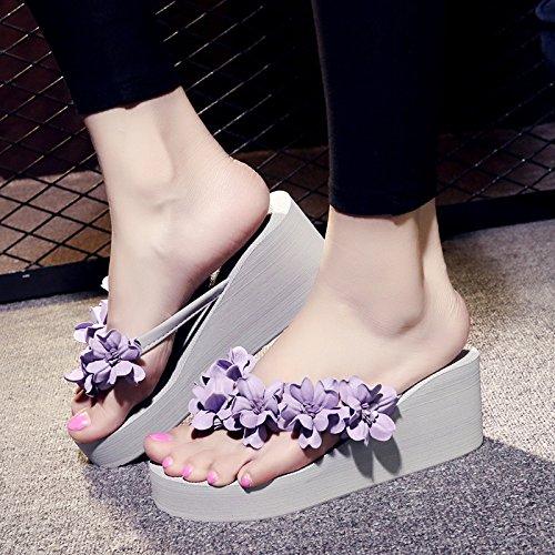 spiaggia spessa dolce FLYRCX toccò anti moda clip pantofole alto flop tacco flip b fiori da Fatto scivoloso mano esterna lady il fondo di scarpe a q0nrtzw0