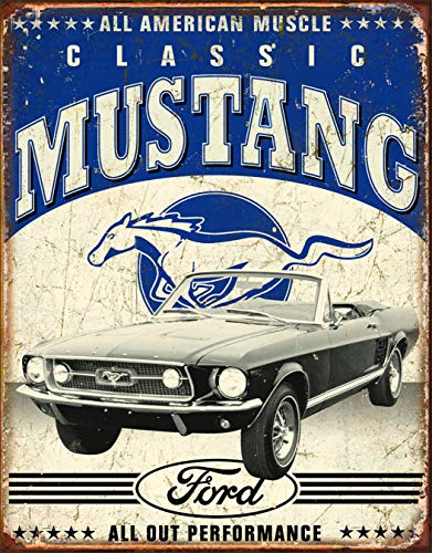 Desperate Enterprises Classic Ford Mustang Tin Sign, 12.5