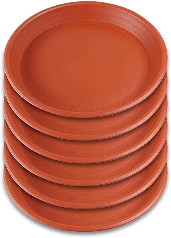 Brown GROWNEER 12 Packs 8 Inches Plant Saucer Drip Trays Round Plastic Plant Pot Saucers Flower Pot Tray for Indoor Outdoor Garden Suit for Pots Less Than 6.9 Inches Bottom Diameter