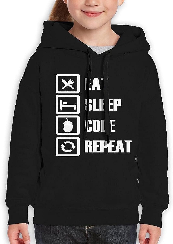 Starcleveland Teenager Pullover Hoodie Sweatshirt Eat Sleep Code Repeat Teens Hooded Boys Girls