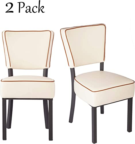 Dporticus 33 Upholstered Bar Stools with Cushioned Seat Modern Dinning Kitchen Chair Set of 2 ,Creamy-White