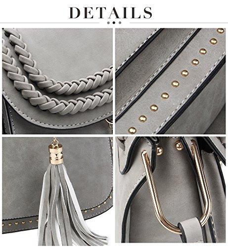 Bag Sling Travel Bag Shopping Saddle Grey Vintage Crossbody Shoulder Tom Bag Tassel Womens Clovers Satchel w7qYzz8