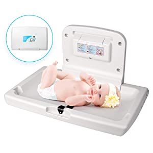 WilBee Wall-Mounted Baby Changing Station, Horizontal Fold-Down Diaper Change Table with Safety Straps for Commercial Bathrooms, White Granite Baby Changing Table with Paper Liner Dispenser