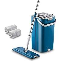 HOUHOU De nieuwste MOP-set Wegwerpreinigingsgereedschap Vloerreiniger Microfiber MOP met emmer dweilen (Color : Blue 2…