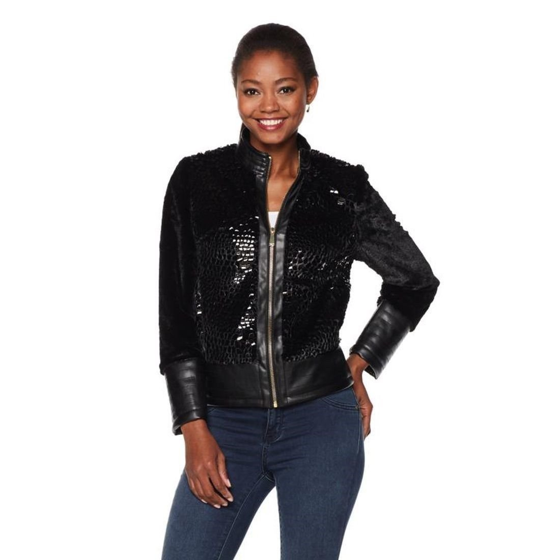 Colleen Lopez Crushed Glass Long-Sleeve Jacket Zip-Front Black 8 New 500-212