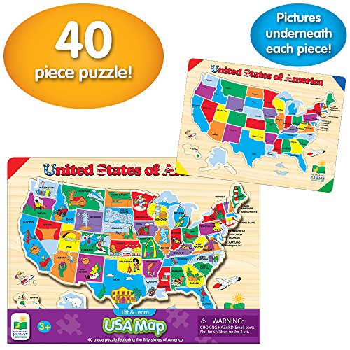 The Learning Journey Lift & Learn United States Map Wood-Like Grain Puzzle