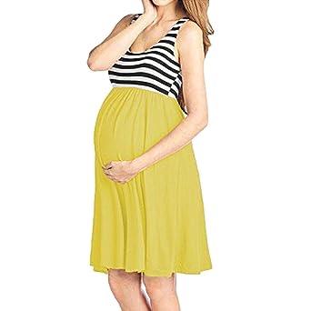 OHQ_Vestido Mujer Vestido Sin Mangas De Chaleco Estampado Con Rayas En El Cuello Maternidad De Raya EnfermeríA Embarazada Algodón Chaleco Camisas Falda ...