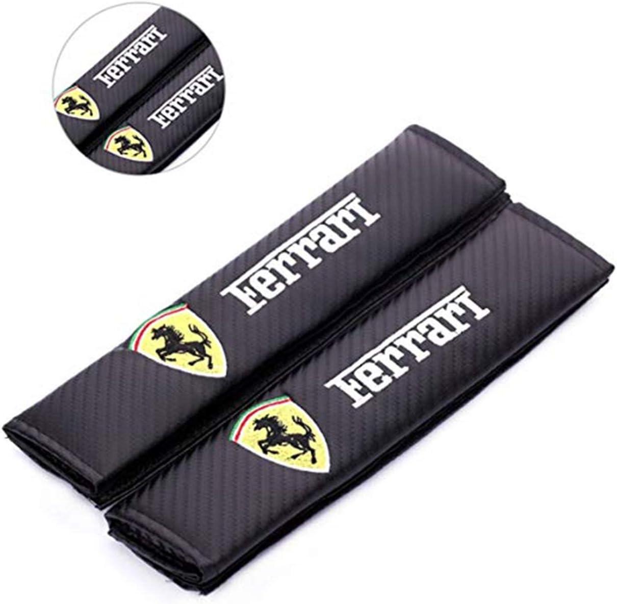 Muchkey 2 pcs coussin de ceinture de s/écurit/é de voiture en fibre de carbone couvrant le coussin de ceinture de s/écurit/é avec blanc sport autocollant r/éfl/échissant pour xc90 v90 s90