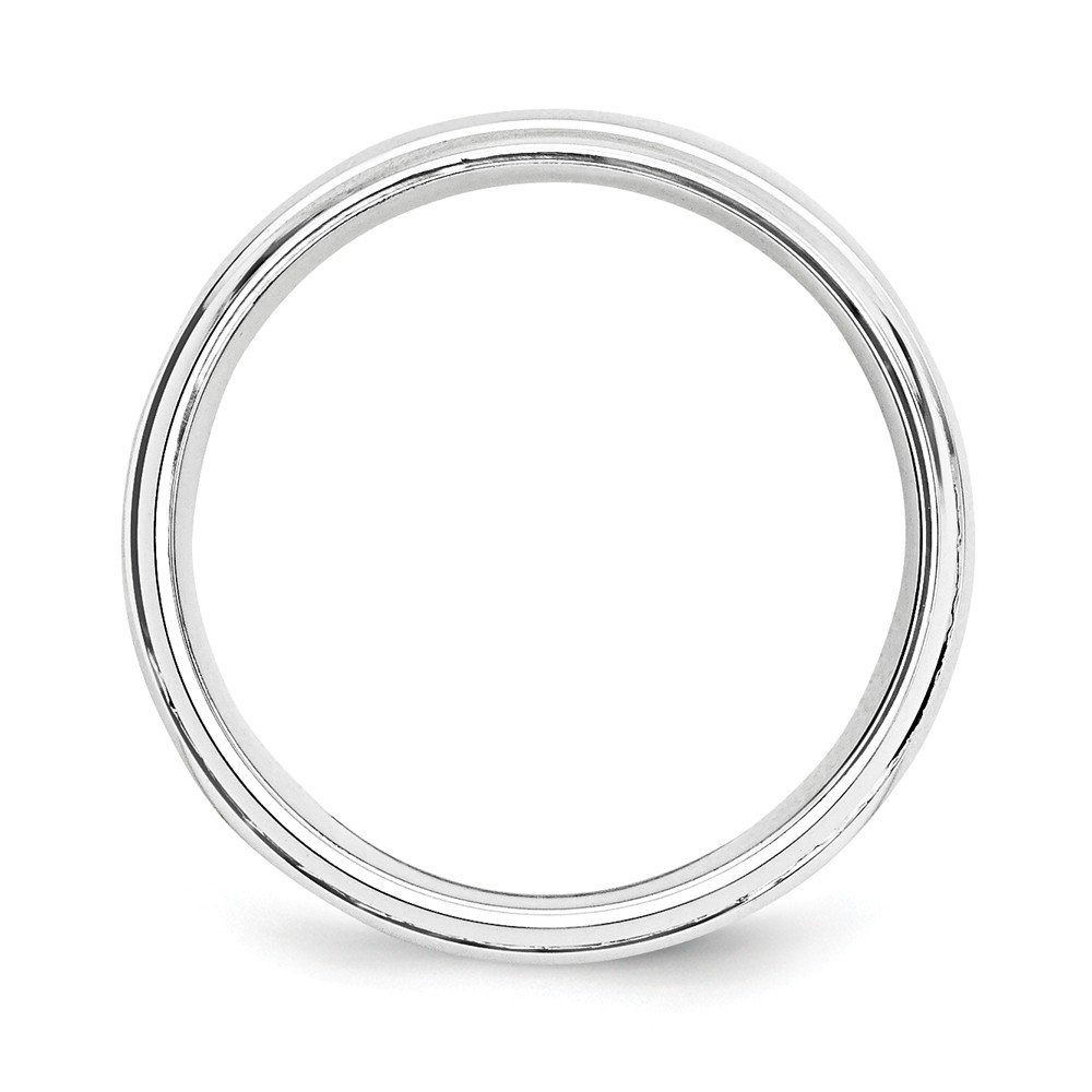 JewelrySuperMart Collection Sterling Silver 6mm Grooved Round Dome Wedding Band