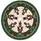 Christmas Nutcrackers Melody with Drum & Bells Hook Rug Tree Skirt, 52 Inch Round