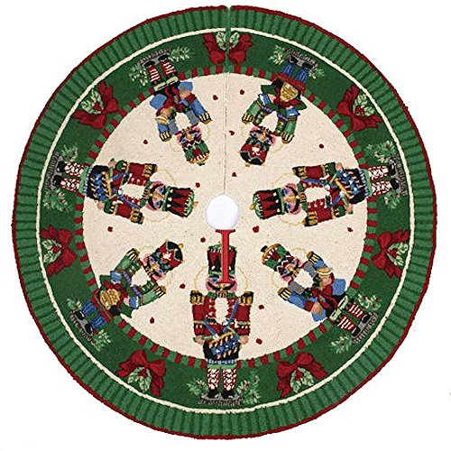 Christmas Nutcrackers Melody with Drum & Bells Hook Rug Tree Skirt, 52 Inch Round by Sally Eckman Roberts