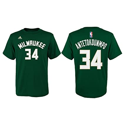adidas Milwaukee Bucks Youth Giannis Antetokounmpo Gametime Name and Number  T-Shirt - Green   fcd8fc3d4
