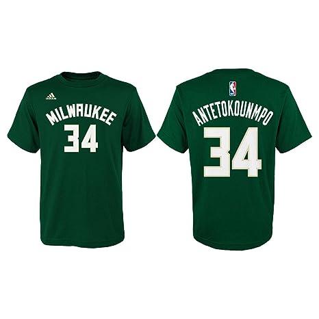 Adidas Giannis Antetokounmpo Milwaukee Bucks # 34 de la NBA Juventud Reproductor Nombre y número Camiseta