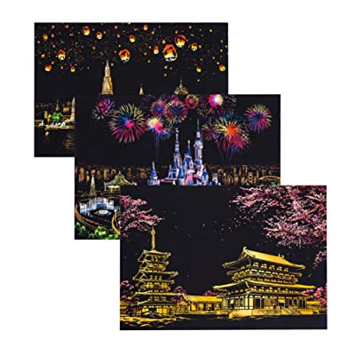 Exceart 3 Pcs Night View Scratch Night View Scraping Painting DIY Night View Scraping Painting Scratch Art Paper for DIY Craft Drawing Toys: Toys & Games