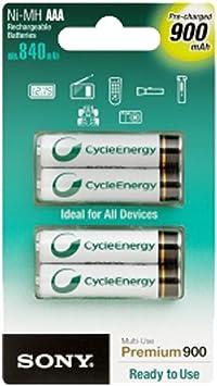 Sony NHAAAB4G - Pack de 4 pilas recargables Ni-Mh, AAA, 1,2v, 900 mAh: Amazon.es: Electrónica