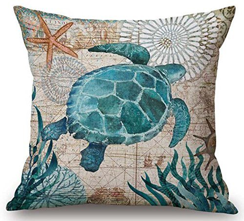 Sea Turtle Cover - Marine Turtles Animal Sea Turtle Cotton Linen Decorative Pillowcase Throw Pillow Cushion Cover Square 18