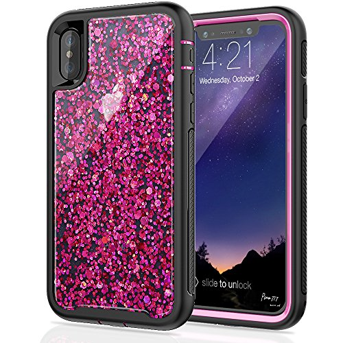 Iphone Stock - SEYMAC Stock for iPhone X/iPhone Xs Girls/Women Case, [Hybrid Drop Protection] case with Shiny [in-Material-Decoration Design], Dual Layer Flexible Protective Case for iPhone X/XS 2017/2018 - Rose