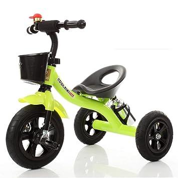 Guo shop- Niño triciclo mano empuje pequeño triciclo bicicleta coche de juguete Walker 1-3-6 años de edad niño bebé bicicleta bicicletas para niños: ...