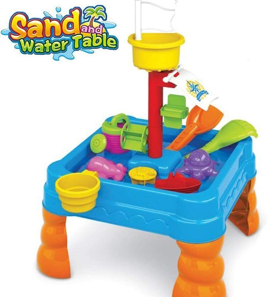 Sand and Water Play Table Summer Fun Square Water Wheel and Waterfall Plenty of Accessories Great Fun on The Beach Or in The Garden Childrens Toy Set