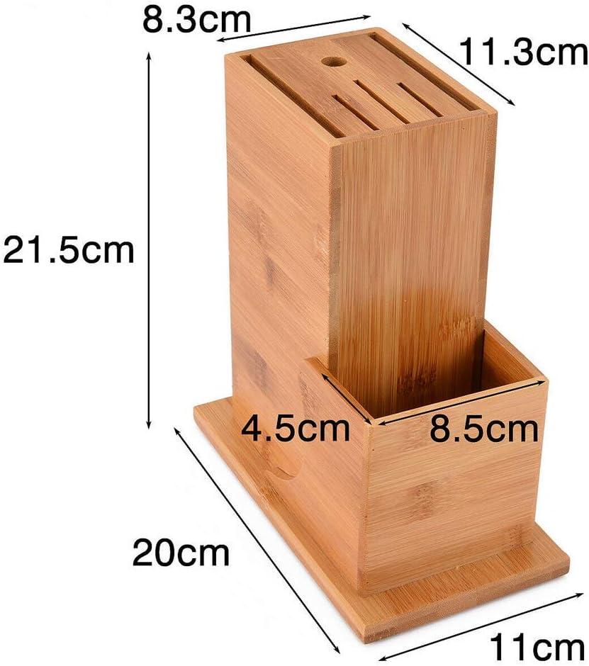 Noblik Fornitura di Utensili per La Conservazione dei Coltelli Multifunzionale Blocco di bamb/ù 6 Utensili per La Conservazione degli Slot per Coltelli Supporto per Porta Coltelli Creativo