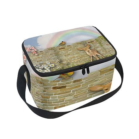 3ee2e632a634 Amazon.com: Lunch Box Deer Brick Sweet Bird Fleurs Rainbow Womens ...