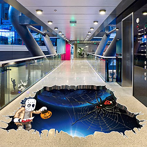 Leagway Halloween Decoration Household Room Floor 3D Wall Sticker Mural Decor Decal Removable Home Vinyl Art Decor Party Supplies Halloween Eve Home Scary Decorative -