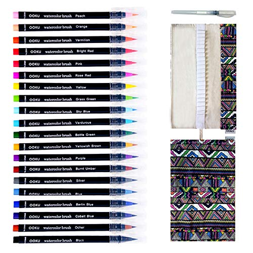 Watercolor Brush Pens - 20 Pre-Filled Water Color Brush Markers with Real Brush Tips for Water Coloring - Bonus Cloth Canvas Wrap and Water Brush Pen - Odor & Oil Free - 22 Piece Set