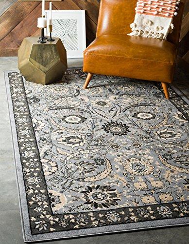 Unique Loom Isfahan Collection Dark Gray 9 x 12 Area Rug