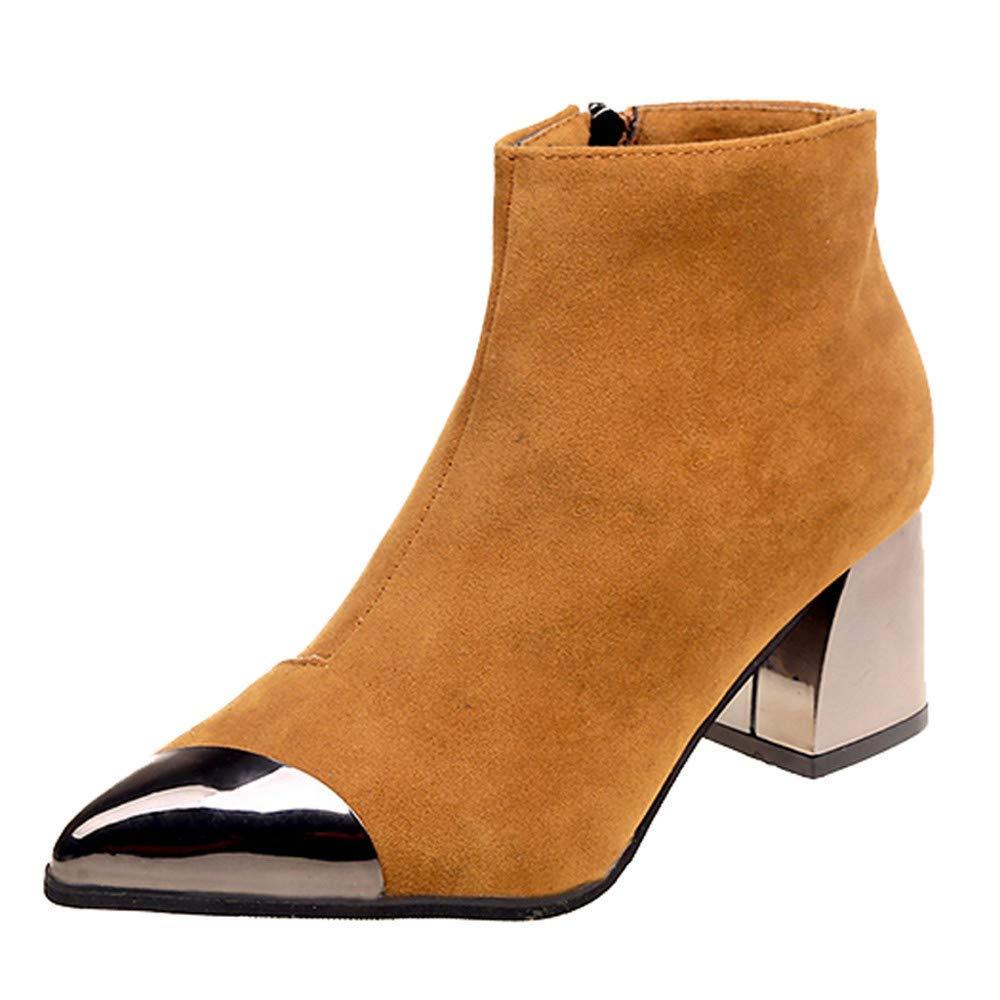 HhGold Schuhe Damen Stiefel Freizeitschuhe Winterstiefel Stiefeletten Kurze Stiefel Mode Frauen Spitzschuh Wildleder High Heel Wedges Martin Reißverschluss Stiefel (Farbe   Khaki, Größe   39 EU)