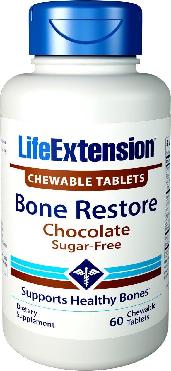 Life Extension Bone Restore 60 Chewable Tablets (Sugar-Free Chocolate)
