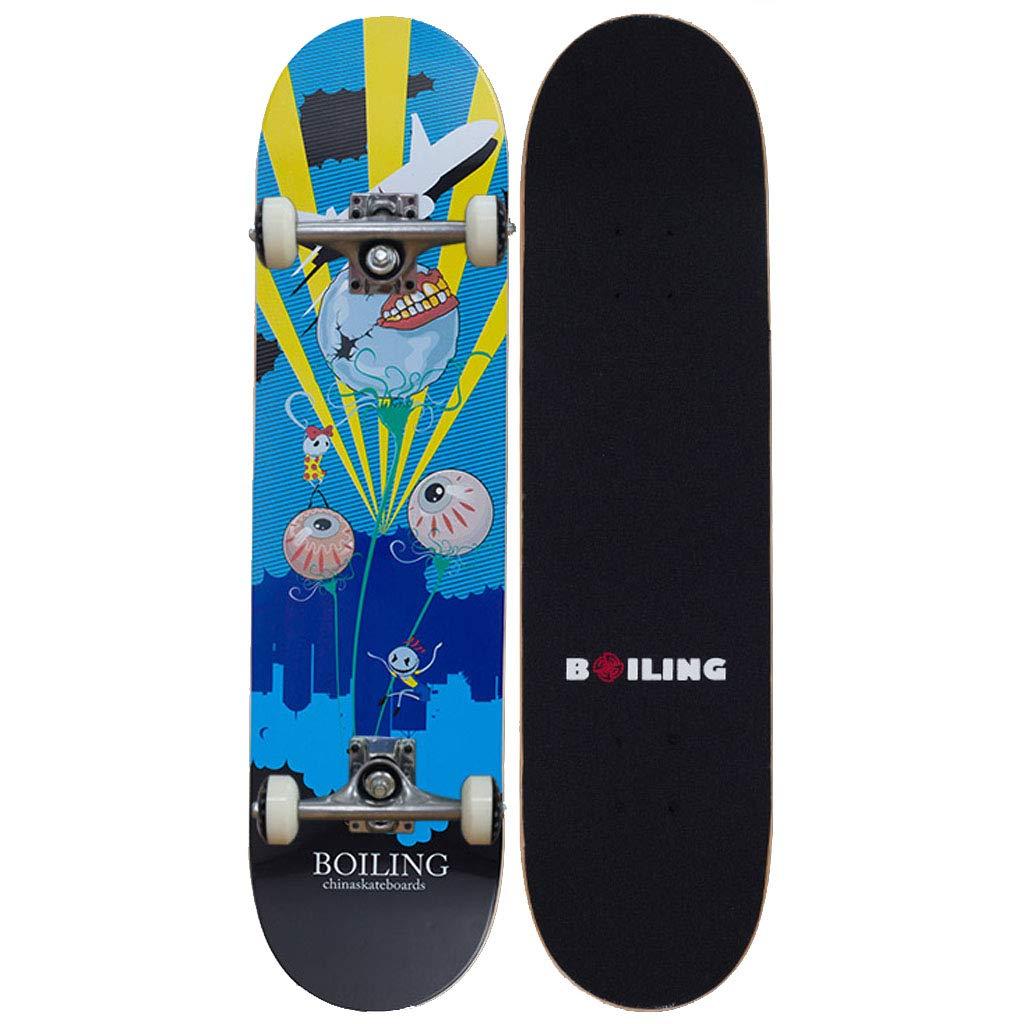 ティーン スケートボード31 X 7.5インチプロスタンダードスケートボード90A滑り止め滑らかでミュートホイールトリックスケートボード、グラフィックデザインのスケートスタイル 友人の贈り物