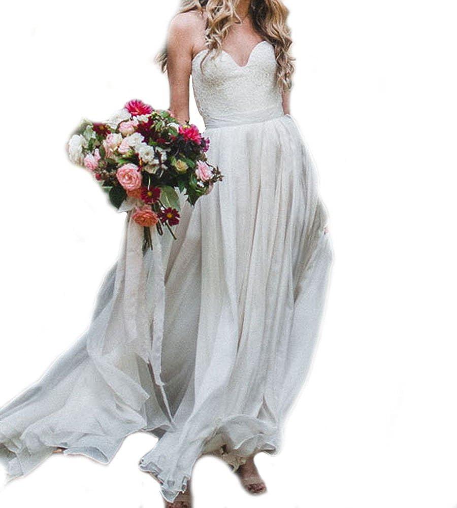 Weddingdazzle Womens Sweetheart Lace Boho Wedding Dress Plus Size