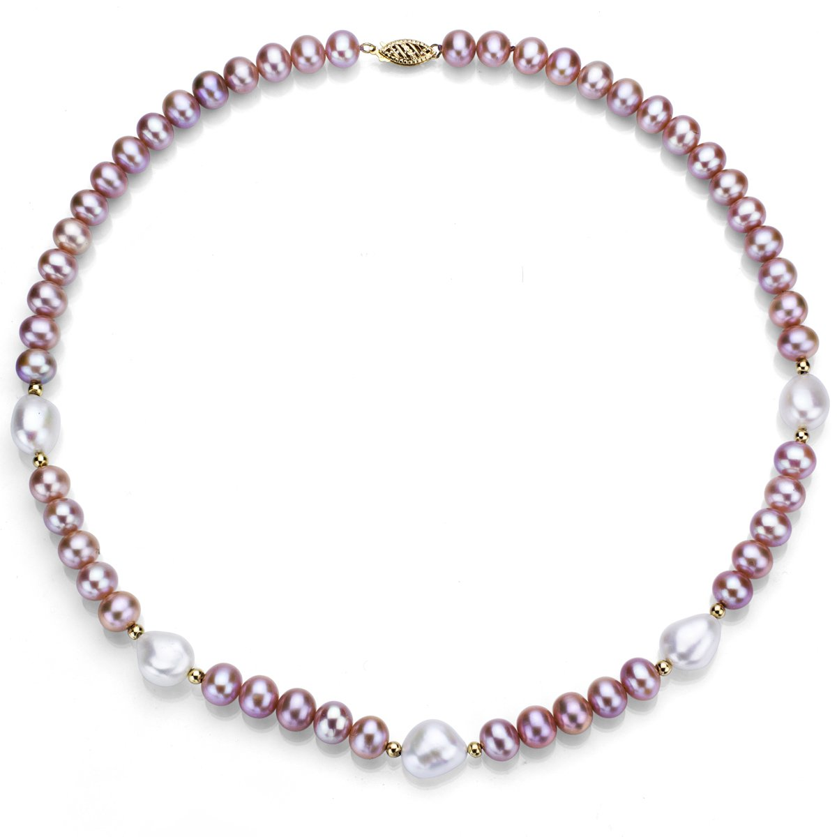 14k Yellow Gold 10-10.5mm White and 7-7.5mm Pink Freshwater Cultured Pearl Necklace 18 18 La Regis Jewelry ND793-5-99