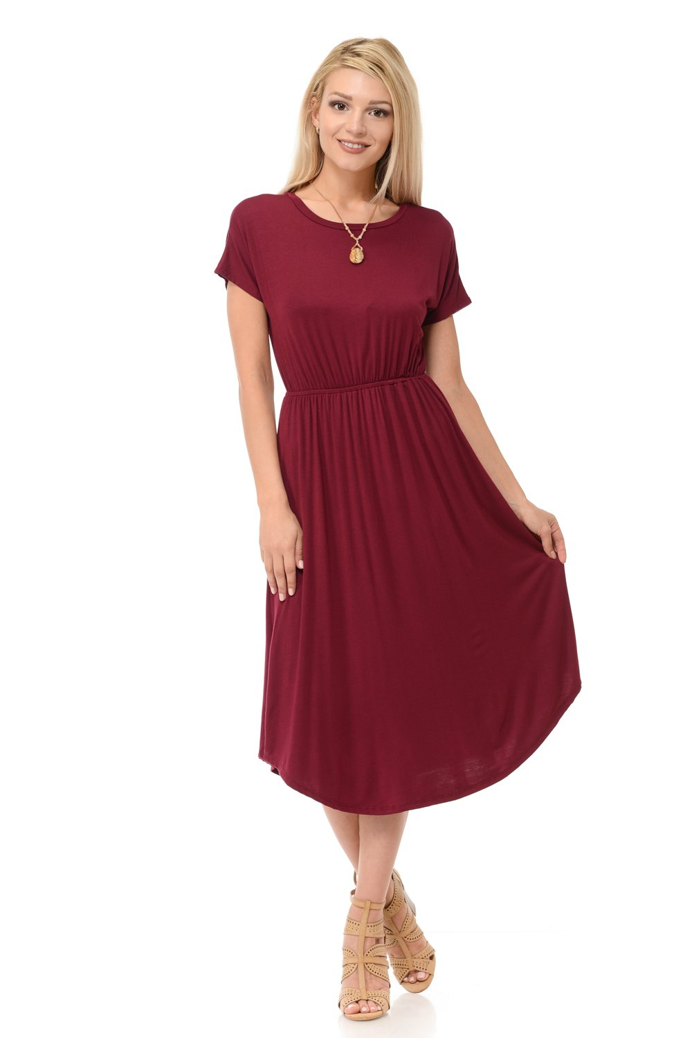iconic luxe Women's Solid Short Sleeve Flare Midi Dress with Pockets Medium Burgundy