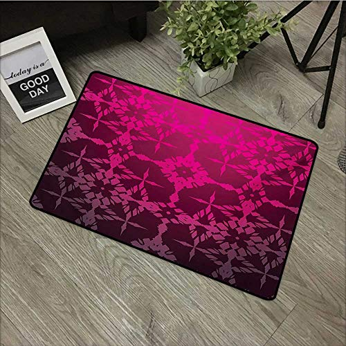 Printed door mat W16 x L24 INCH Magenta,Victorian Stylized Classical Bound Ornamental Mosaic Patterns in Nostalgic Design,Rosewood Natural dye printing to protect your baby's skin Non-slip Door Mat Ca ()