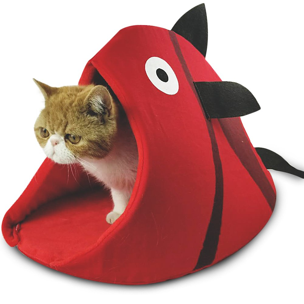 Red Large Red Large Petgrow Novelty Cat Bed House Decorative Fish Shaped Large Size, Cozy Comfy Pet Bed Cave for Cats Small Dogs,Kitten Puppy Cute Bed Cuddle,Red