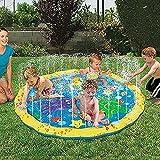 Sprinkle and Splash Play Mat PVC,Water Spray Toy Kids Baby Pool Pad Summer Fun Beach Outdoor Toy,Inflatable Water Spray Sprinkle 39in-Diameter (100cm / 39inch)