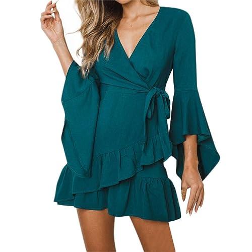 Vestidos Mujer Verano 2018,Impresión de las mujeres punto de manga larga V-cuello mini vestido de fiesta casual LMMVP (Verde, S)